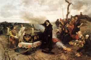 La princesa Juana llorando la muerte de su marido. Completamente vestida de negro